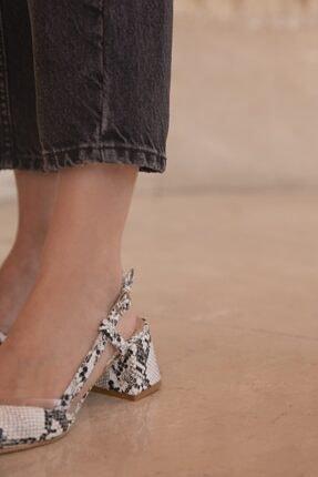STRASWANS Roy Bayan Yılan Deri Topuklu Ayakkabı Beyaz