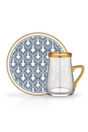 Glore Tarabya 12 Parça Kulplu Çay Bardağı Seti Emesta Antrasit