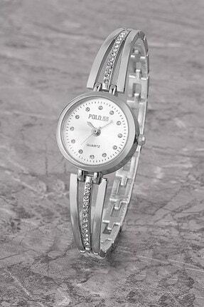 Polo55 Plkm003r04 Taşlı Basit Kadran,bilezik Modeli,kadın Gümüş Kol Saati