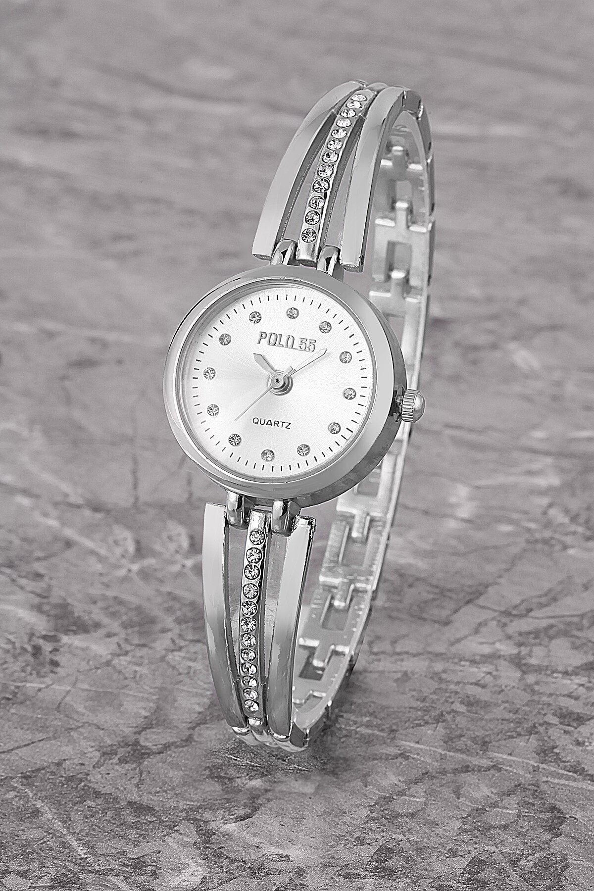 Polo55 Plkm003r04 Taşlı Basit Kadran,bilezik Modeli,kadın Gümüş Kol Saati 1