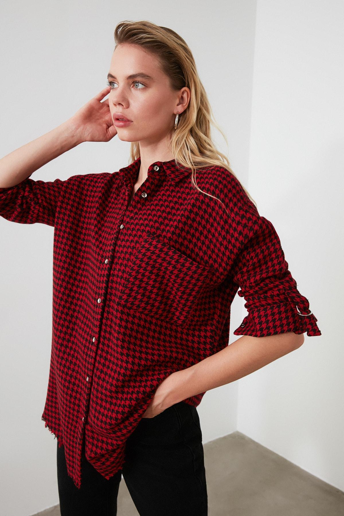 TRENDYOLMİLLA Bordo Kazayağı Ceket Gömlek TWOAW20GO0159 2