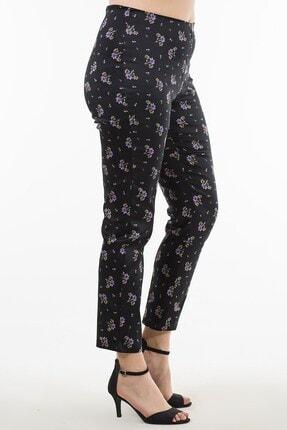 Womenice Kadın Siyah Beli Lastikli Çiçek Desenli Pantolon