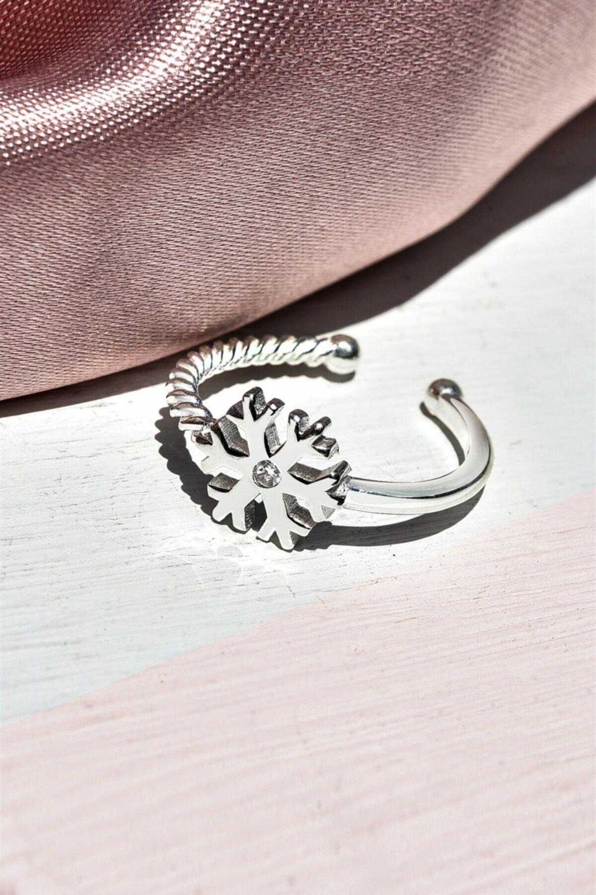 jelux silver Ayarlanabilir Kar Tanesi Model Zirkon Taşlı Gümüş Yüzük 1