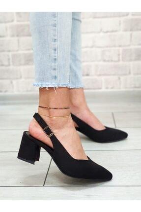 Yeni Elbisem Kadın Siyah Süet Topuklu Ayakkabı