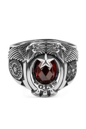 Anı Yüzük Kırmızı Taşlı Çift Kartal Baş Osmanlı Armalı Pençeli Polis Yüzüğü