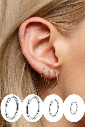 Salyangoz Company Kadın Gümüş Renk Cerrahi Çelik Halka Küpe 4 Adet
