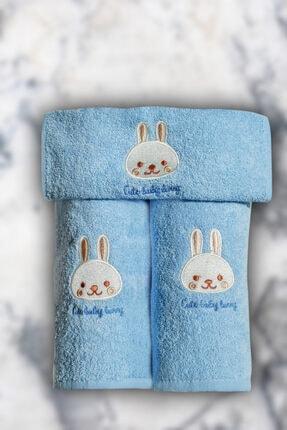 DaisyHome Daisy Home 3 Parça Çocuk Banyo Havlu Seti ( Mavi - 02 )
