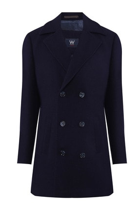 W Collection Erkek Lacivert Manto-Palto