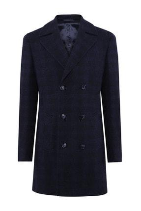 W Collection Erkek Lacivert Siyah Manto Palto