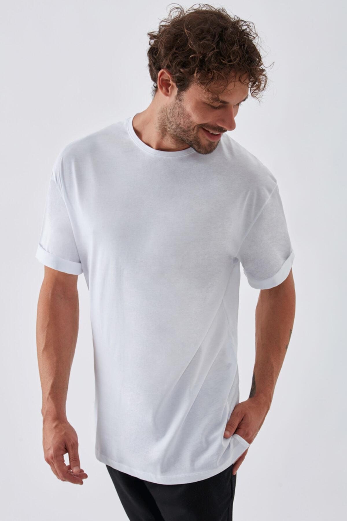 Dear Deer Erkek Beyaz Basic T-shirt 2