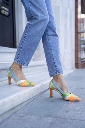 LuviShoes Kadın Turuncu Yeşil Topuklu Ayakkabı 174