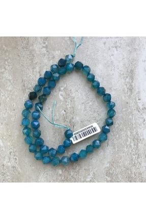 Dünya Doğal Taş 8 Mm Altıgen Mavi Akik Taşı Dizi - Dz2387