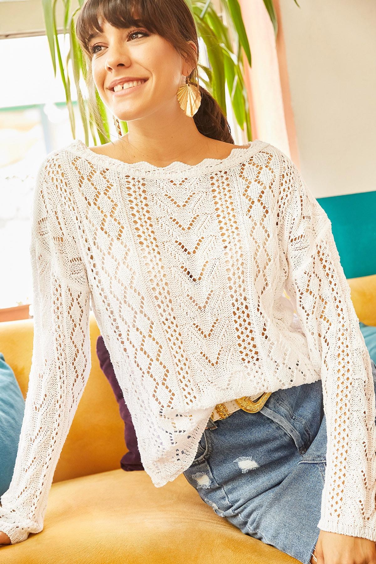Olalook Kadın Beyaz Kayık Yaka Baharlık Triko Bluz BLZ-19001070 2
