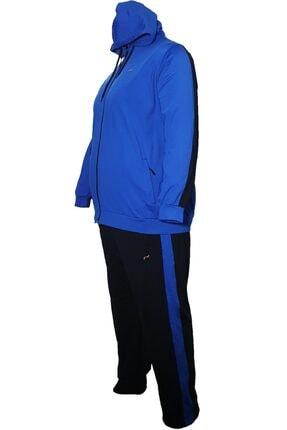 Thomas Breitling Erkek Mavi  Büyük Beden Penye Kapuşonlu Eşofman Takım