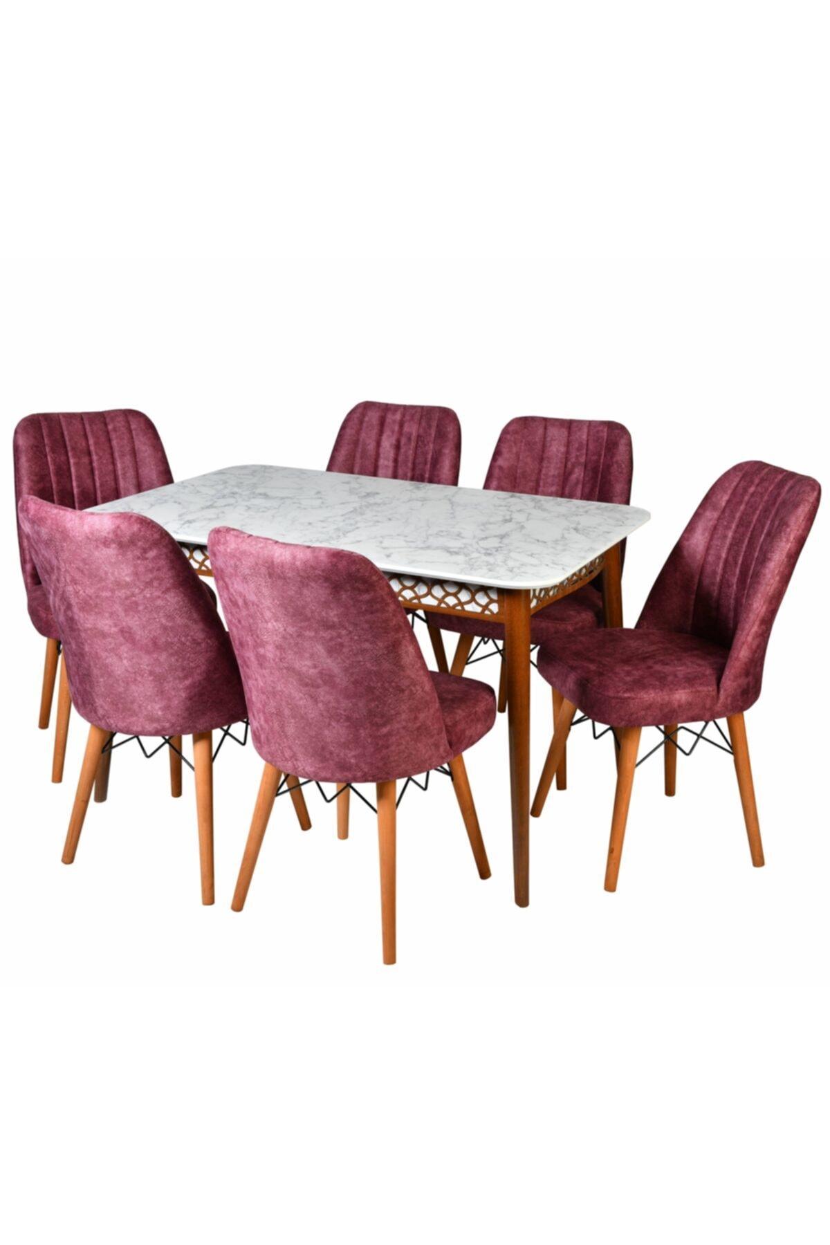 YZC Mutfak Masa Sandalye Takımı, 6 Adet Gül Kurusu Sandalyeli Beyaz Mermer Lazerli Masa 1