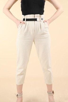 Oblavion Kadın Bej Yüksek Bel Lastik Kemerli Keten Pantolon