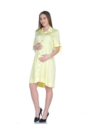 BUSA Kadın  Sarı Hamile Günlük Önde Düğmeli Elbise