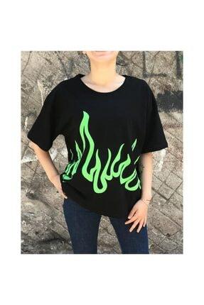 Köstebek Kadın Siyah Billie Eilish Green Fire T-shirt