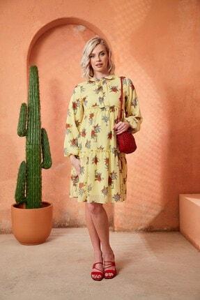 Görsin Hamile Kadın Sarı Desenli Yakası Bağcıklı Elbise