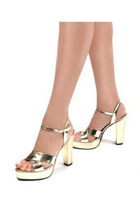 Gökhan Talay Altın Rengi Kadın Platform Topuklu Ayakkabı