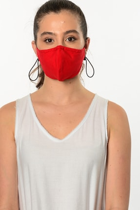 Etnik Esintiler Düz Renk Kırmızı Maske