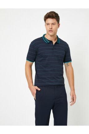 Koton Erkek Lacivert Çizgili Polo Yaka Tshirt