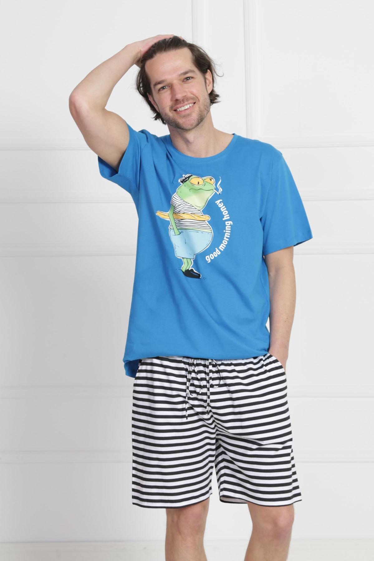 GAZZAZ Erkek Saks Kısa Kol Normal Beden Pamuklu Şortlu Pijama Takım 2