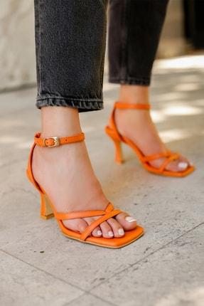MYPOPPİSHOES Kadın Turuncu Parmak Arası Topuklu Ayakkabı
