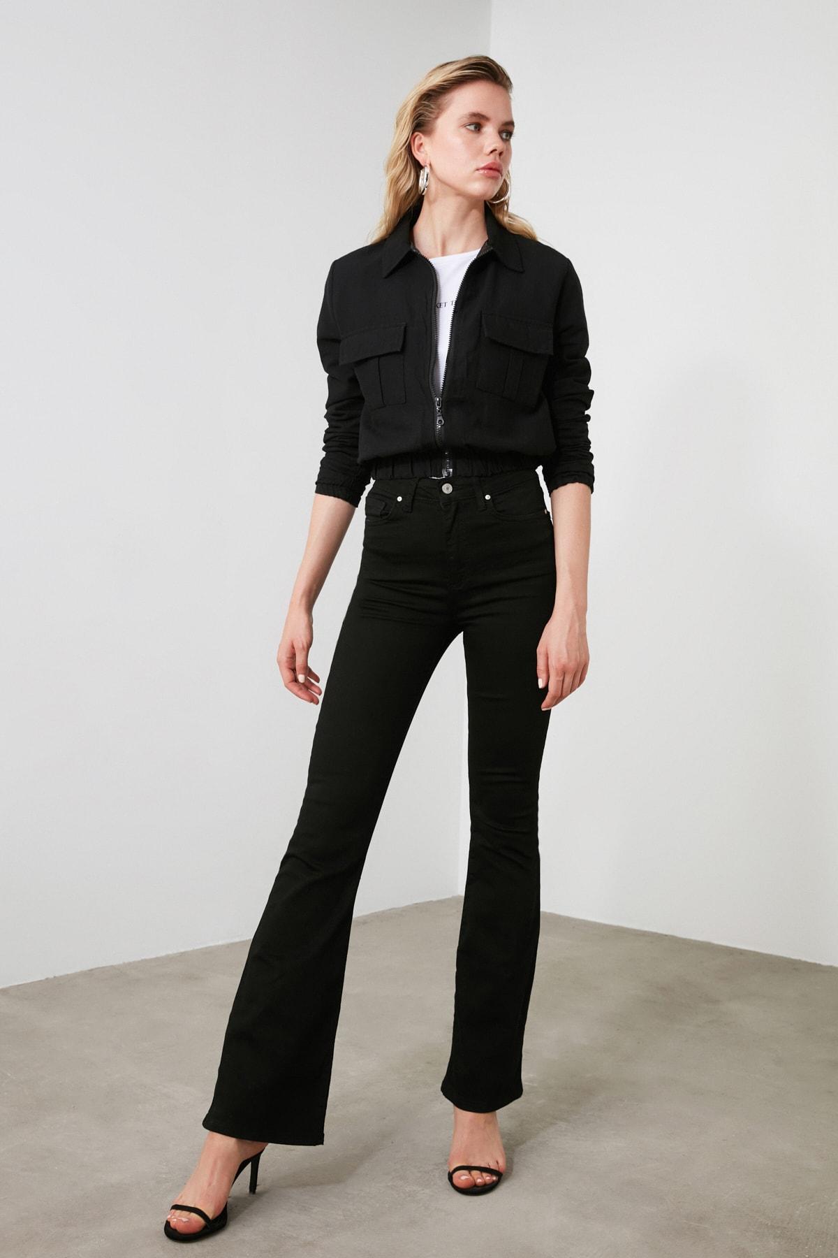 TRENDYOLMİLLA Siyah Yüksek Bel Flare Jeans TWOSS19LR0284 1