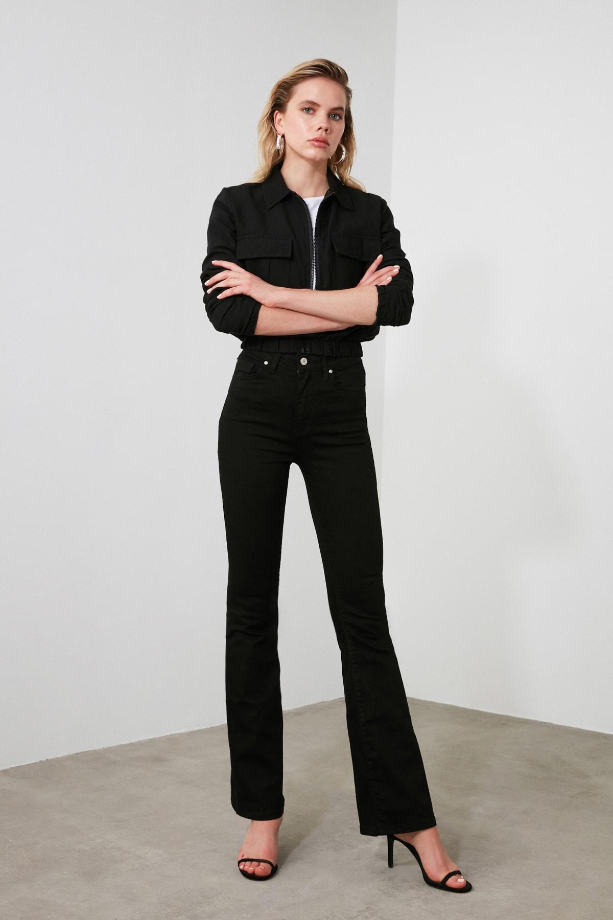 TRENDYOLMİLLA Siyah Yüksek Bel Flare Jeans TWOSS19LR0284 2