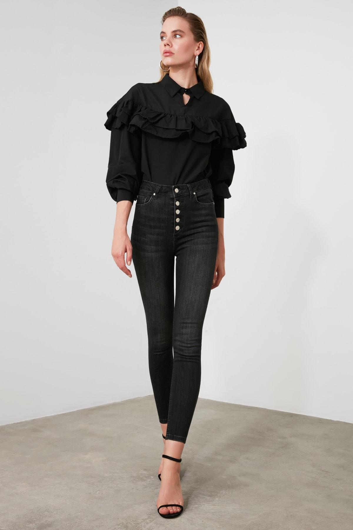 TRENDYOLMİLLA Antrasit Önden Düğmeli Yüksek Bel Skinny Jeans TWOAW20JE0051 1