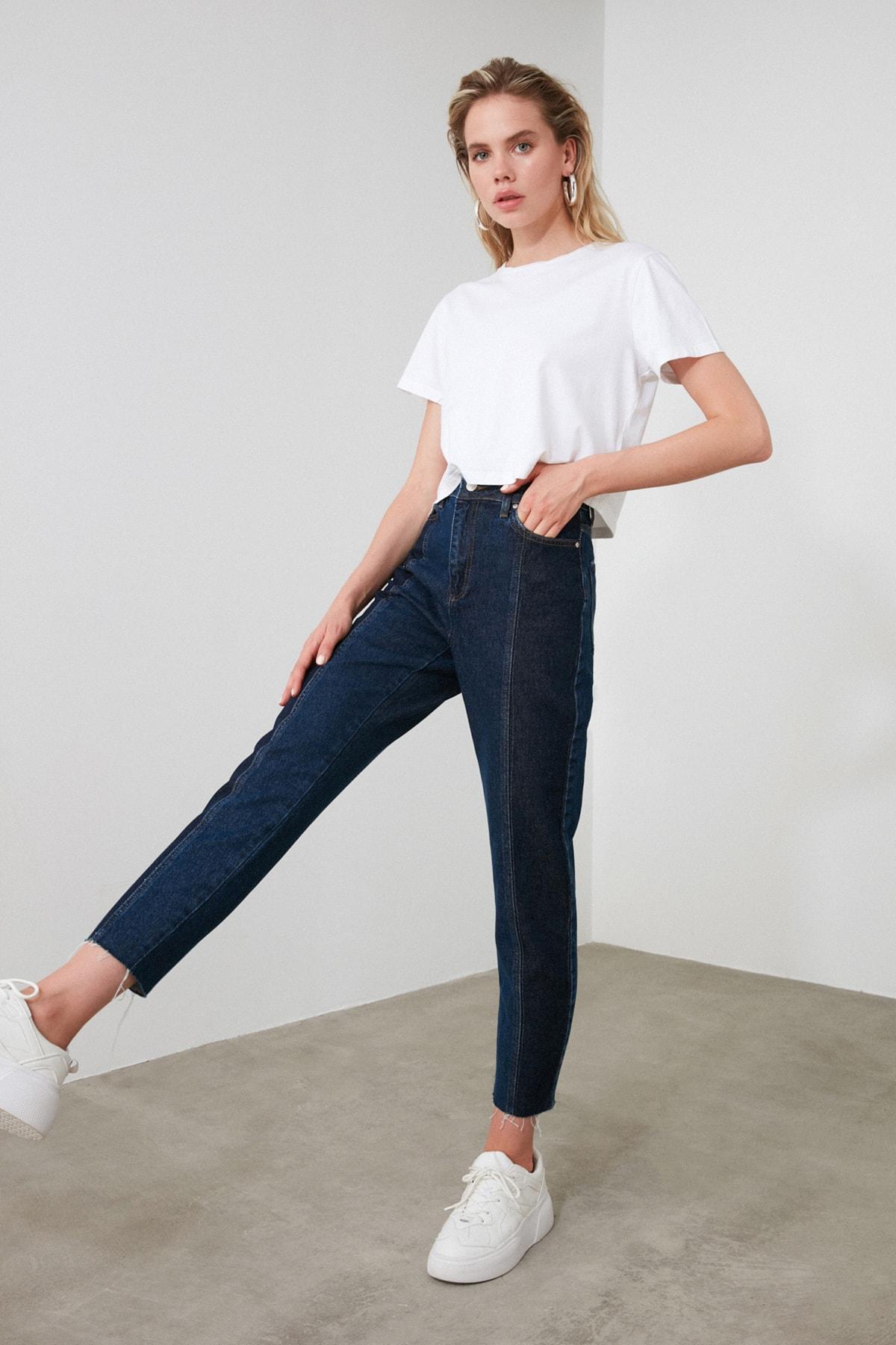 TRENDYOLMİLLA Koyu Mavi Blok Yıkama Detaylı Yüksek Bel Mom Jeans TWOAW20JE0109 1