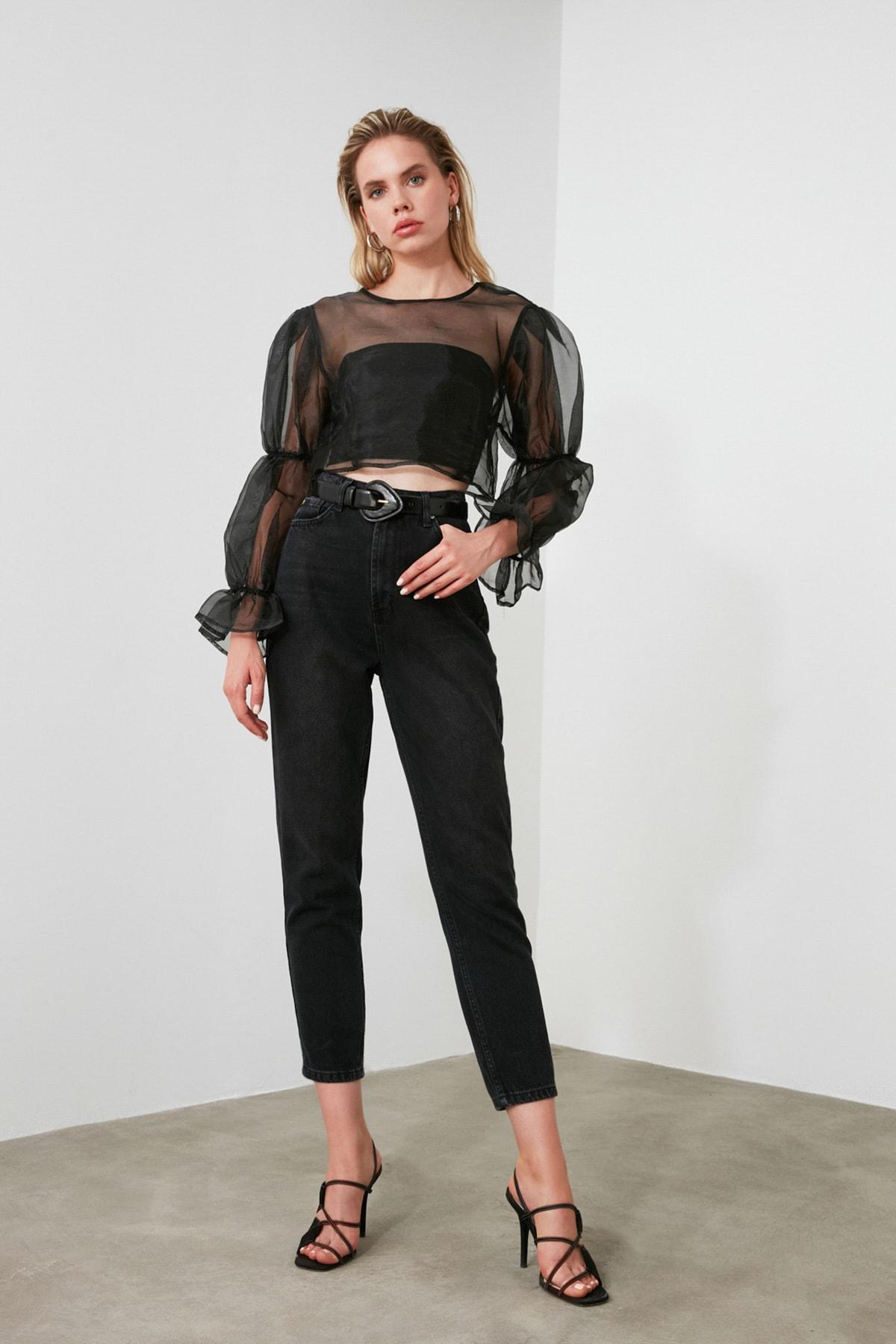 TRENDYOLMİLLA Siyah Yıkamalı Yüksek Bel Mom Jeans TWOSS20JE0099 1