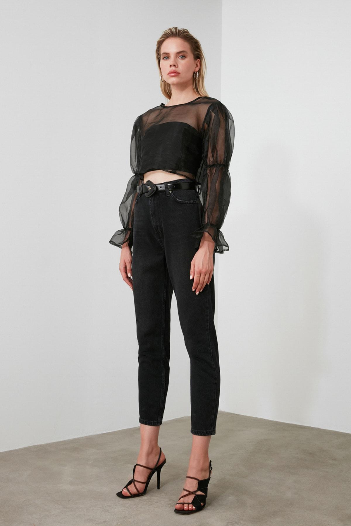 TRENDYOLMİLLA Siyah Yıkamalı Yüksek Bel Mom Jeans TWOSS20JE0099 2