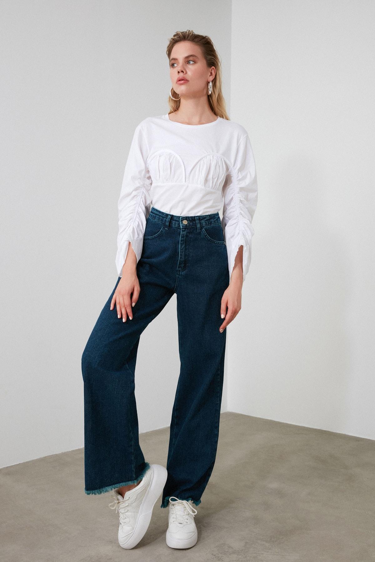 TRENDYOLMİLLA Lacivert Paçası Püsküllü Yüksek Bel Wide Leg Jeans TWOSS20JE0185 2