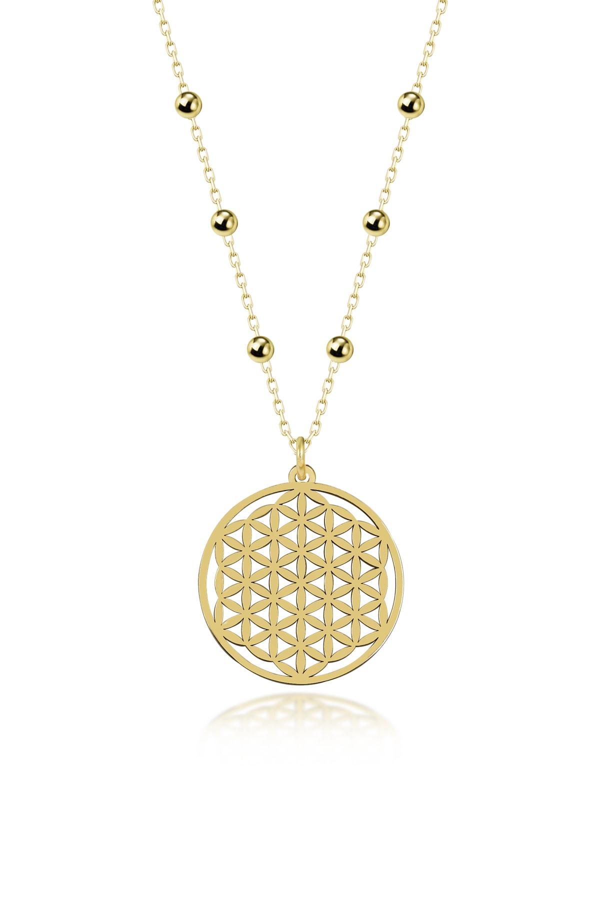 Gümüş Çarşısı Gold Yaşam Çiçeği Kolyesi 1