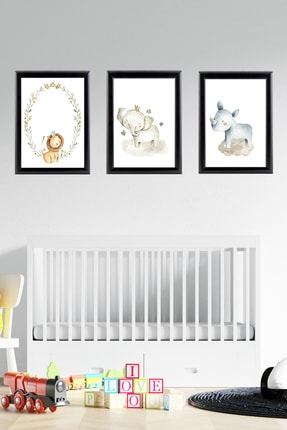 Tilki Dünyası Siyah Çerçeveli Bebek Odası Tablo Seti 022