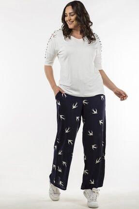 Womenice Kadın Lacivert Kuş Desenli Pantolon