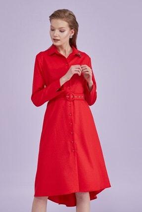 Journey Kadın Elbise-Polo Yaka, Ön Tam Düğme, Bel Hattı Kemer Detaylı, Kol Ucu Yırtmaçlı Kırmızı 20Yelb336