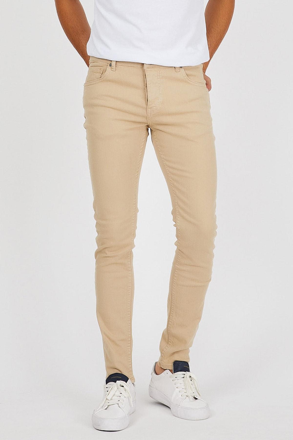 Denim Republic Erkek Krem Slim Fit Pantolon 1