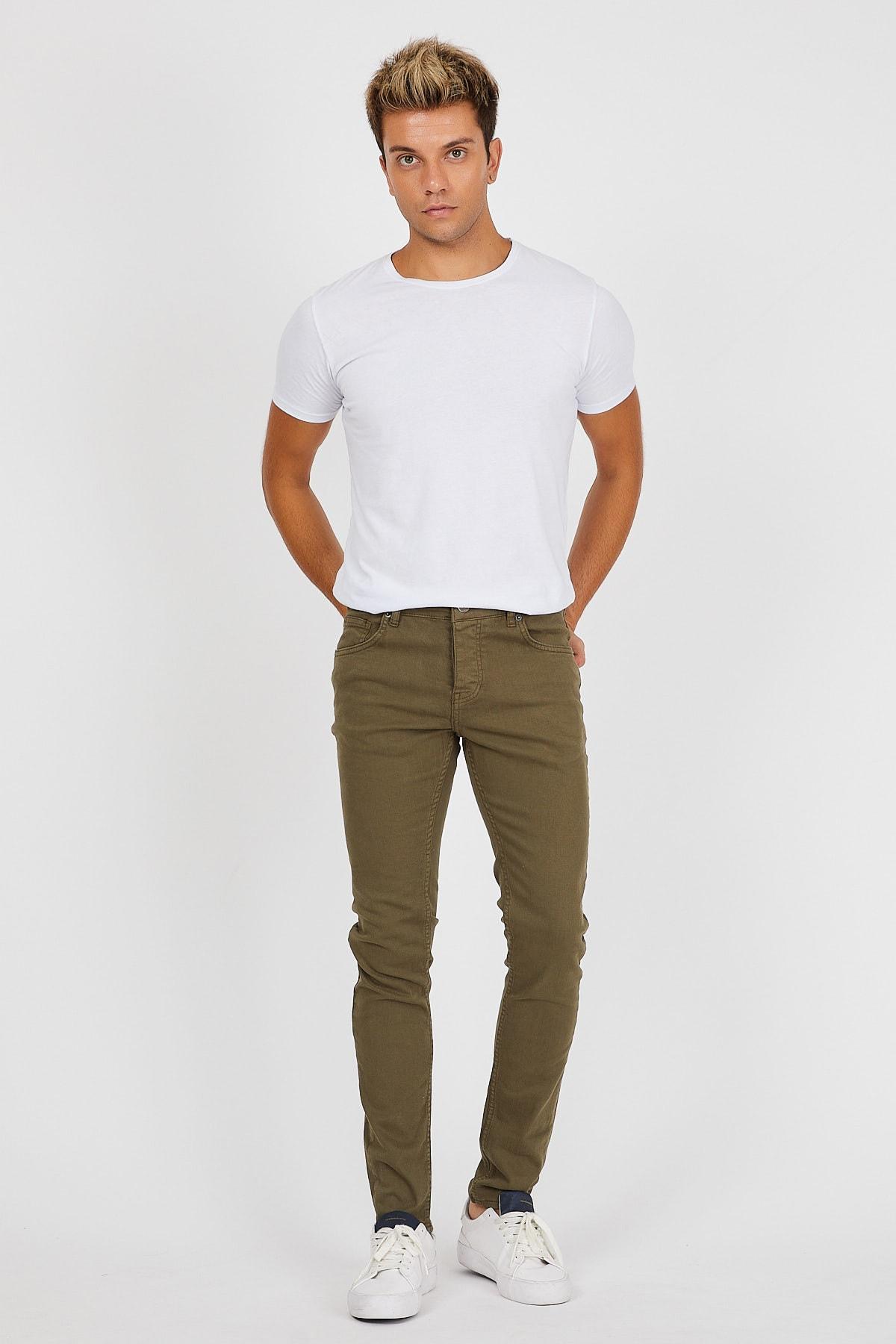 Denim Republic Erkek Haki Slim Fit Pantolon 2