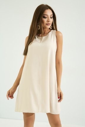 Vis a Vis Kadın Taş Rengi Kısa Rahat Kesimli Elbise