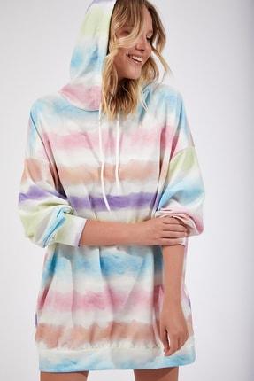 Happiness İst. Kadın Orta Pembe Desenli Oversize Sweat Elbise  DD00511