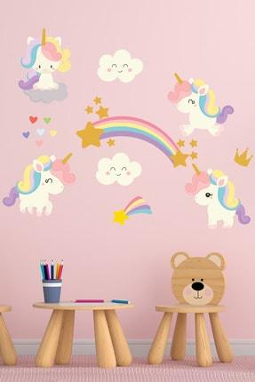 Tilki Dünyası Sevimli Unicorn Gökkuşağı Bulutlar Ve Yıldızlar Çocuk Odası Sticker