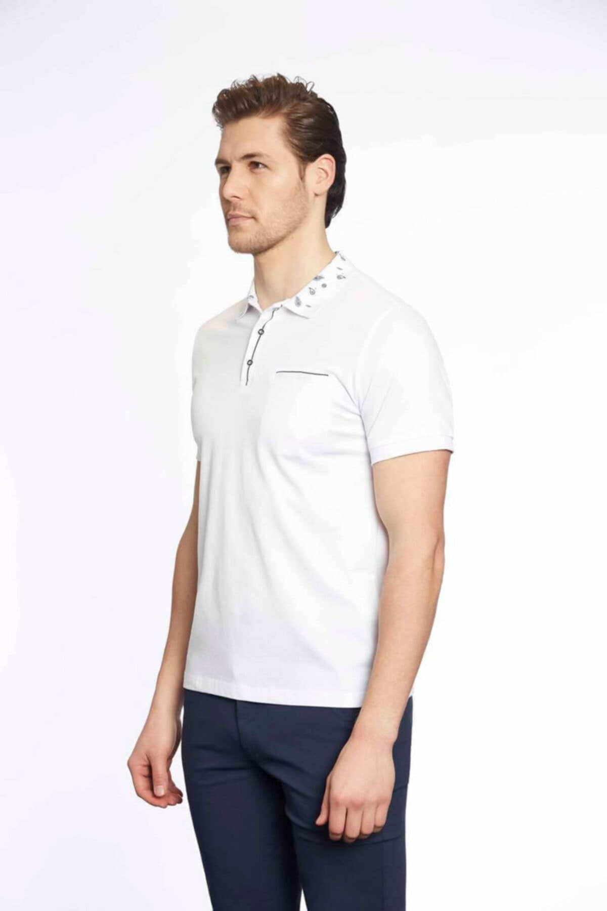 Tony Montana Erkek Beyaz Polo Yaka T-shirt 2