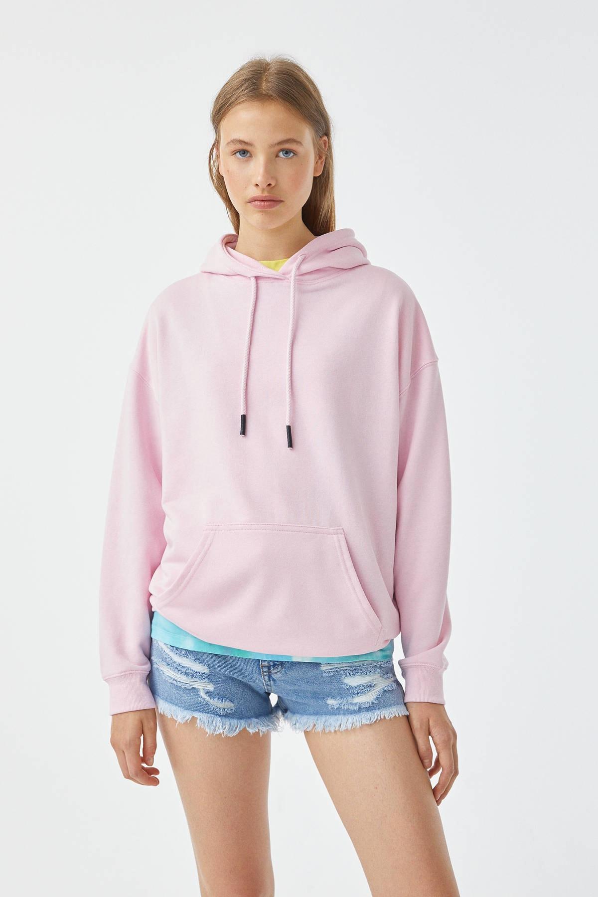 Pull & Bear Kadın Pembe Basic Oversize Kapüşonlu Sweatshirt 05596380 1