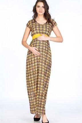 BUSA Kadın Sarı Hamile Günlük Desenli Kemerli Elbise