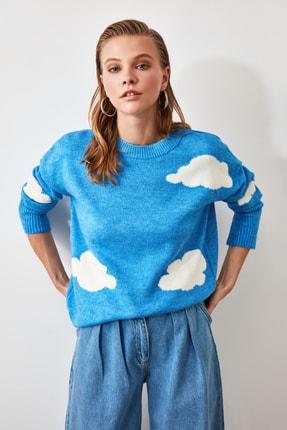 TRENDYOLMİLLA Mavi Bulut Desenli Triko Kazak TWOAW21KZ0026