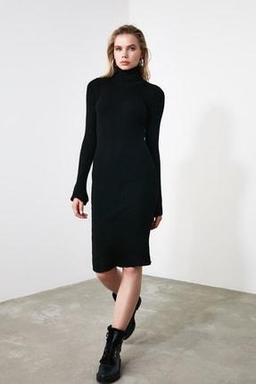 TRENDYOLMİLLA Siyah Kol Ucu Volanlı Triko Elbise TWOAW20YN0005