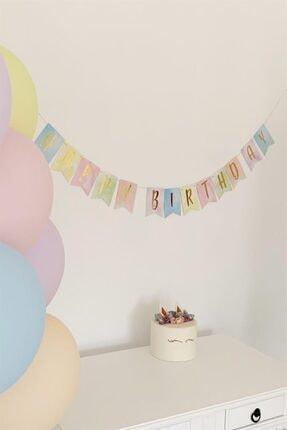 Partifabrik Makaron Renkler Happy Birthday Yaldızlı Yazı Süs